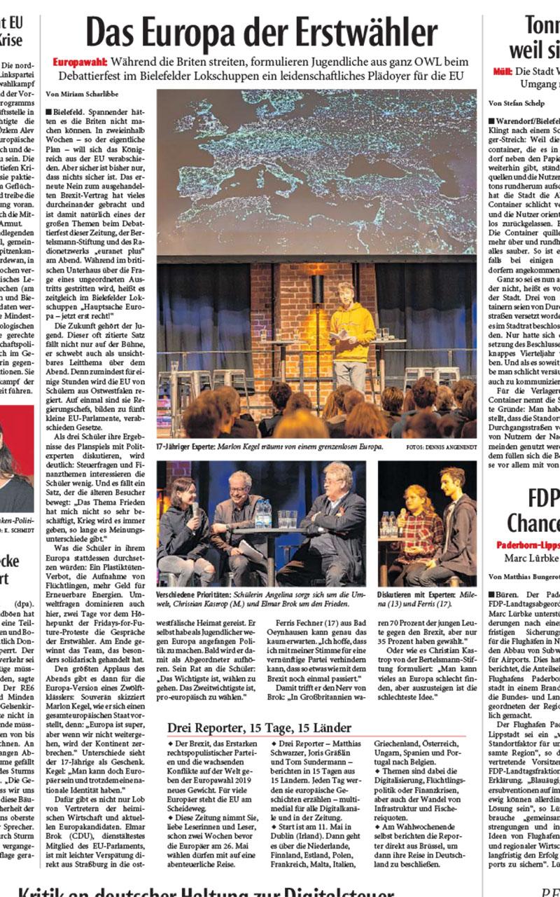 """Wir wählen Europa"" – grosses Debattierfest im Lokschuppen am 13.03.2019"